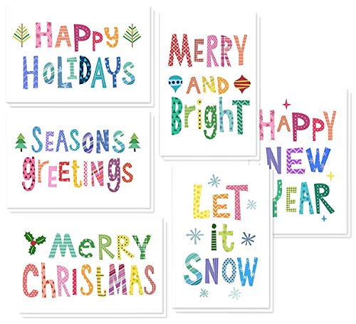 48 Pack of Christmas Winter Holiday Family Greeting Cards - Bright Christmas Saying's Designs - Boxed with 48 Count White Envelopes Included - 4.5 x 6.25 Inches -