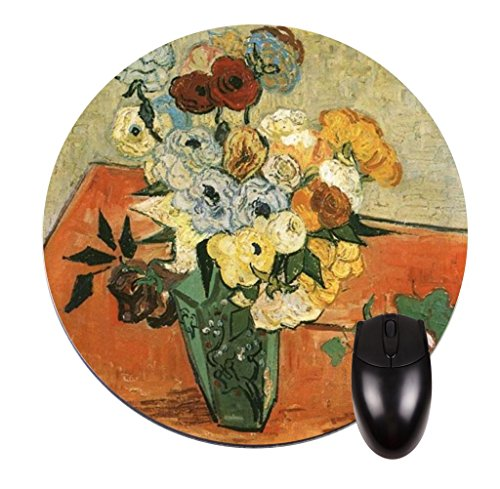 - Vincent Van Gogh's Still Life:Japanese Vase with Roses and Anemones-Vincent Willem Van Gogh/Post-Impressionist/Post-Impressionism/Dutch/Netherlands/France/French/Painter-Round Mouse pad - Stylish, durable office accessory and gift