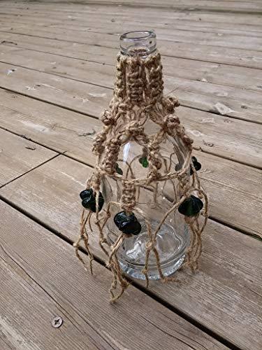 Macrame Glass Bottle Shabby Chic Decor, Handmade Home Décor