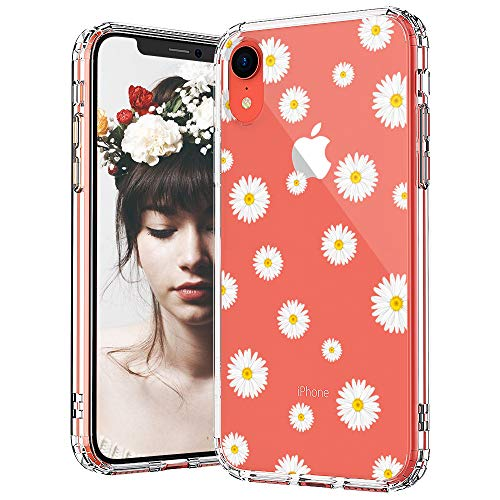 MOSNOVO iPhone XR Case, Clear iPhone XR Case, Daisy Floral Flower Pattern Clear Design Transparent Plastic Hard Back Case with Soft TPU Bumper Protective Case Cover for Apple iPhone -
