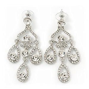 Bridal Clear Diamante Chandelier Earrings In Rhodium Plating - 6cm ...