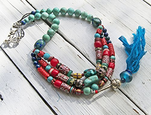 (African Trade Bead and Genuine Turquoise Necklace)