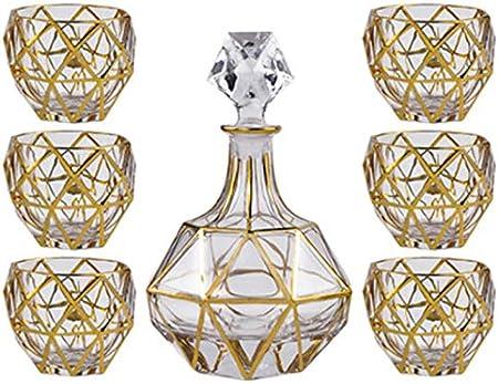 Juego de vasos de whisky con 6 vasos para whisky para regalo de whisky para hombres y whisky para el hogar (color: oro, tamaño: 7 piezas)