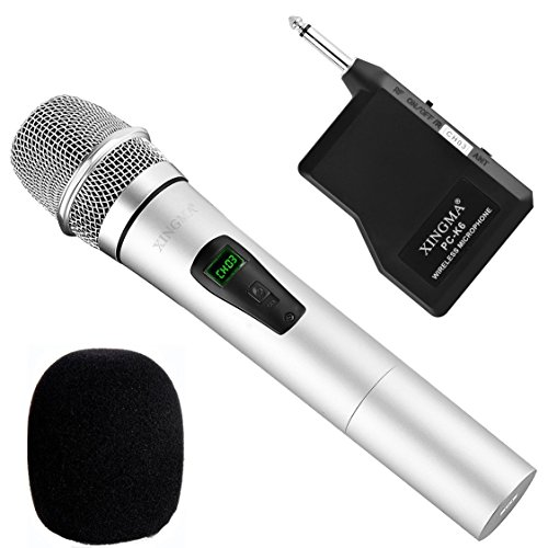 Wireless Handheld Microphone, Dynamic Cordless Vocal Microphone with 6.35mm Plug Receiver for Karaoke, PA Speaker, Amplifier, DJ, Party, Wedding, Outdoor and More (Silver)