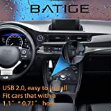 BATIGE Square Single Port USB 2.0 Panel Flush Mount Extension Cable With Buckle for Car Truck Boat Motorcycle Dashboard 3ft