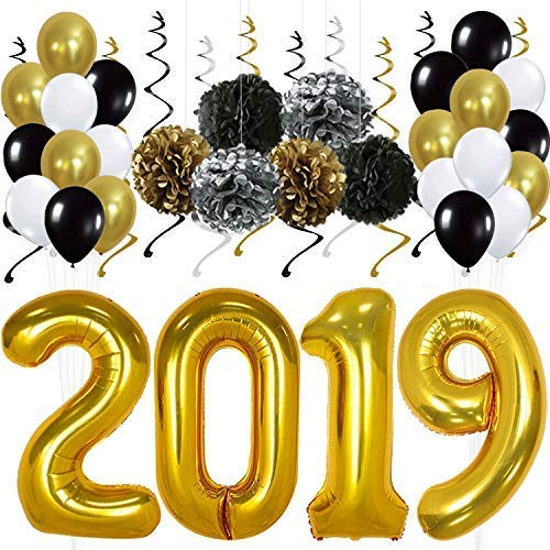 2019 Gold Balloons Decorations Banner – Pack of 31 | Black Gold and Silver Hanging Party Swirls, Tissue Paper Pompoms & Latex Balloons | Great for Graduations Supplies Kit, New Years Eve, Home Office