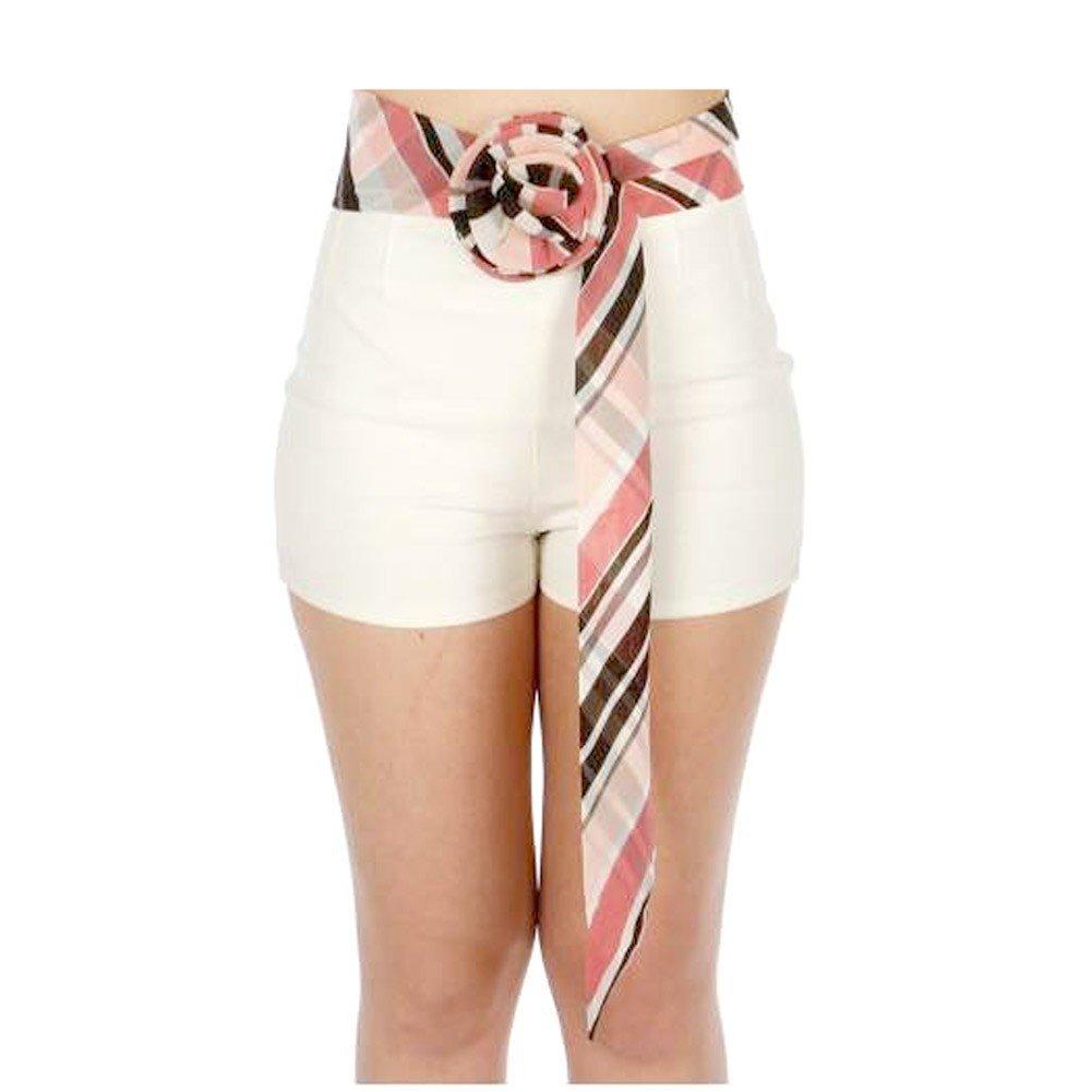 Girls Multi Color Plaid Pattern Rosette Accent Sash Belt 3.5 x 50 Length