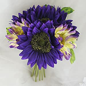 Lily Garden Artificial Flowers Sunflowers with Berry Bouquet (Purple with Ivory)