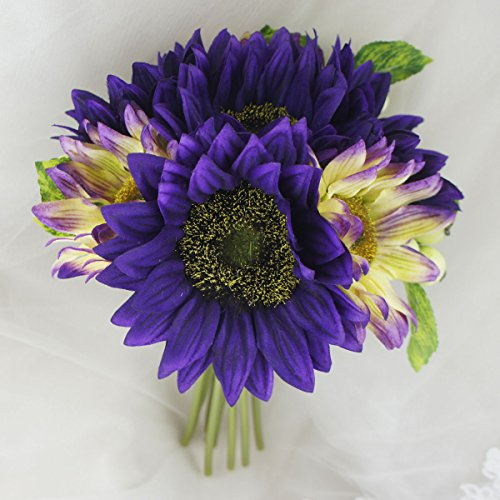 Lily Garden Artificial Flowers Sunflowers with Berry Bouquet (Purple with - Lily Purple Dark
