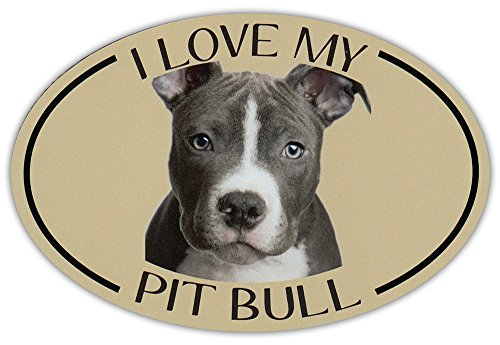 Oval Dog Breed Picture Car Magnet - I Love My Pit Bull (Pitbull) - Magnetic Bumper Sticker ()