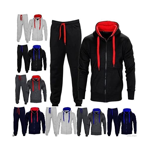New Mens Contrast Fleece Hooded Jogging Gym Joggers Top Bottom Tracksuit Set