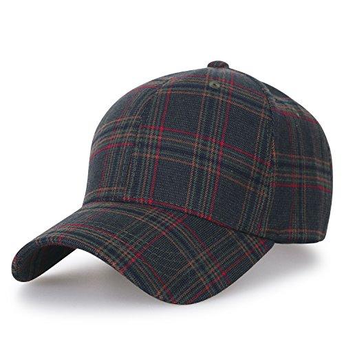 - ililily District Pattern Baseball Cap Big Size Adjustable Trucker Hat, Olive Plaid