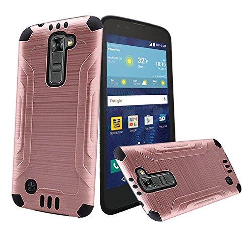 Rose Gold Brushed Metallic Designer Hybrid Premium Dual Case Cover for LG Treasure (L51AL) (L52VL) (L51G) (Straight Talk, Net10, Tracfone, Walmart) with Free Gift Reliable Accessory Pen