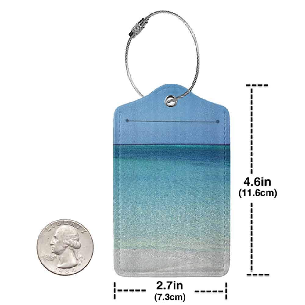 Flexible luggage tag Ocean Decor Collection Clear Water at the Beach in Atlantic Sea Cuba Coasts with Fantastic Sky Scenery Art Fashion match Cream Turquoise W2.7 x L4.6