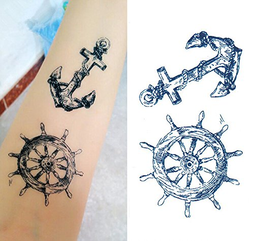Set of 5 Waterproof Temporary Tattoo Stickers Pirate Sailor Culture Anchor Design Body Art -