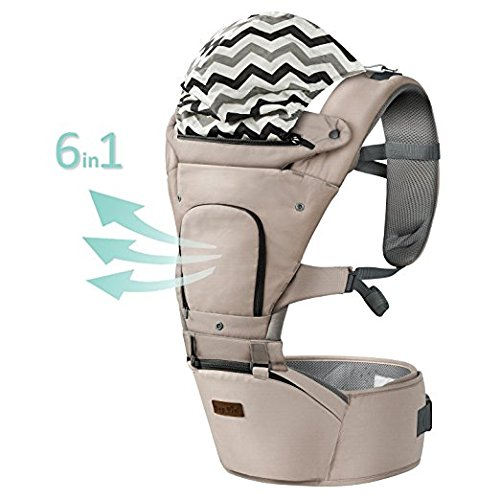 Ergonomic Baby Carrier with Hip Seat for Girls/Kids,Baby Backpack Carrier Toddler 6 Comfortable & Safe Positions, 48'' Maximum Adjustable Waistband, Perfect for Alone Nursing and Hiking (Grey)) by Hap Tim (Image #1)