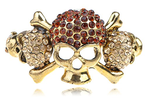 Alilang Womens Golden Tone Topaz Colored Rhinestones Pirate Skull Bones Bangle Bracelet ()