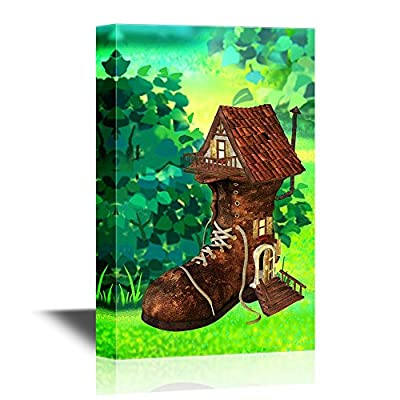 Canvas Wall Art - Shoes Shaped House in The Fairy Tale Woods - Gallery Wrap Modern Home Art | Ready to Hang - 12x18 inches