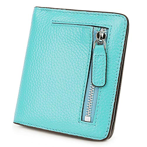 BIG SALE-AINIMOER Women's RFID Blocking Leather Small Compact Bifold Pocket Wallet Ladies Mini Purse with id Window (Sea Blue) ()
