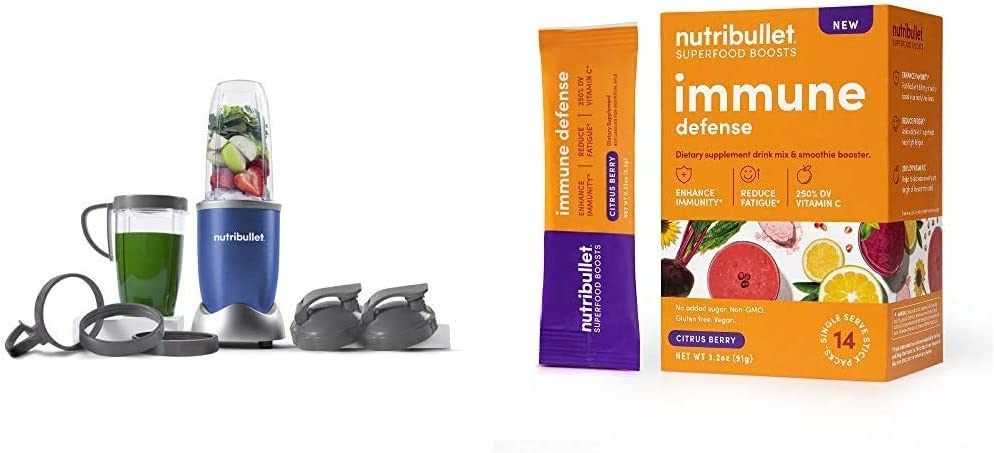 NutriBullet NB9-1301B Pro 13 Pcs Cobalt Blue with SuperFood Immune Defense Boosts - 14 Single Serve Packs