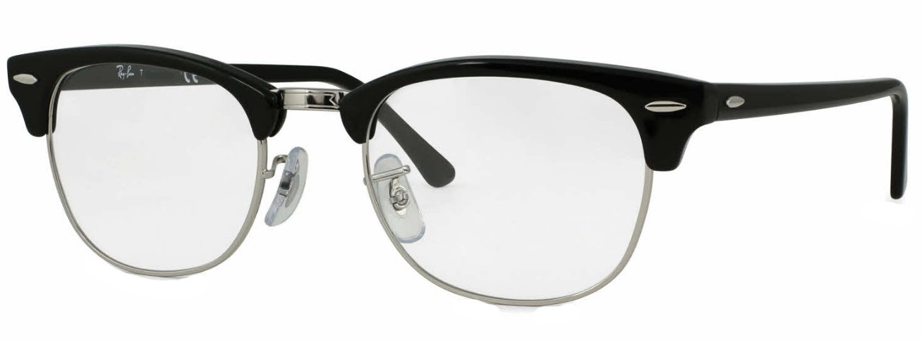 Ray-Ban RX5154 Clubmaster Eyeglasses 100% Authentic (49 mm, Shiny Black Frame) by Ray-Ban