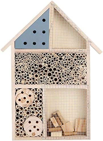 FTFDTMY Insekt Haus Bee Box Insektenfraß Nest Schmetterling Insektenhotel Nistkästen for Bienen Schmetterlinge Garden Beneficial Bug-Hotel, Red (Color : Blue)