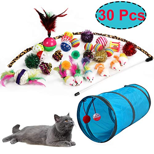 M JJYPET Cat Toys Kitten Toys Assortments(30 Packs),2 Way Tunnel,Cat Balls with Bells,Cat Feather Toy,Cat Mice Toy,Cat Crinkle Balls,Puppy,Kitty,Kitten