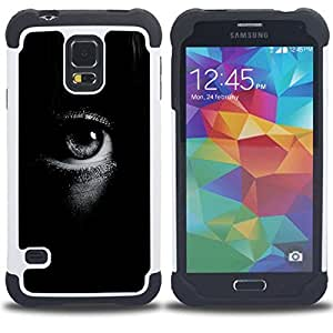GIFT CHOICE / Defensor Cubierta de protección completa Flexible TPU Silicona + Duro PC Estuche protector Cáscara Funda Caso / Combo Case for Samsung Galaxy S5 V SM-G900 // Deep Black White Focus Meaning //