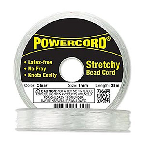 Powercord? Elastic Clear 1mm Diameter 14-pound Test. Sold Per 25-meter Spool.