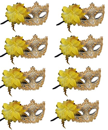 CISMARK Masquerade Masks for Mardi Gras Proms,Weddings,Balls Halloween,Holiday Parties,Yellow,One Size (Pack of 8)