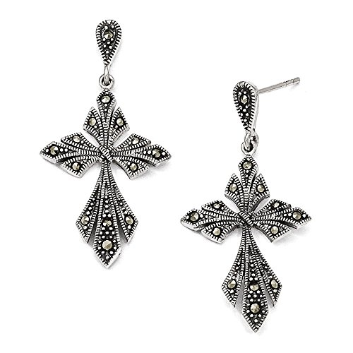 - Sterling Silver Marcasite Cross Dangle Post Earrings 39x20 mm