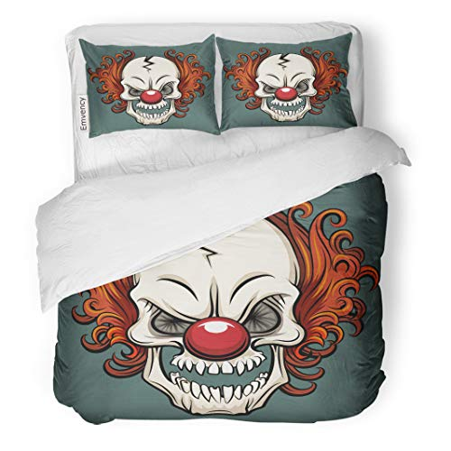 Semtomn Decor Duvet Cover Set Full/Queen Size Colorful Creepy Evil Scary Clown Halloween Monster Joker Character 3 Piece Brushed Microfiber Fabric Print Bedding Set Cover -