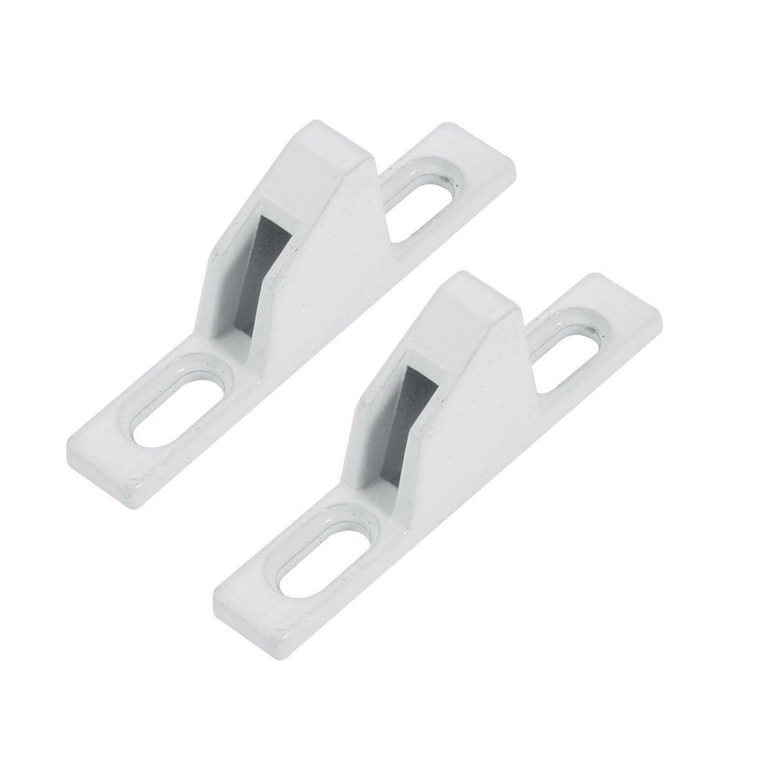 uxcell55mmx9mmx19mm Zinc Alloy Sliding Door Window Lock Keeper White 2pcs a17111800ux0086