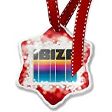 Christmas Ornament Retro Cites States Countries Ibiza, red - Neonblond