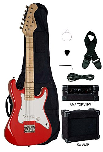 31'' Kids Child Mini ST EP5 Starter Electric Guitar Package with 5 Watt Amp, Gig Bag, Strap, Cable and Picks by Raptor (Red) by Raptor