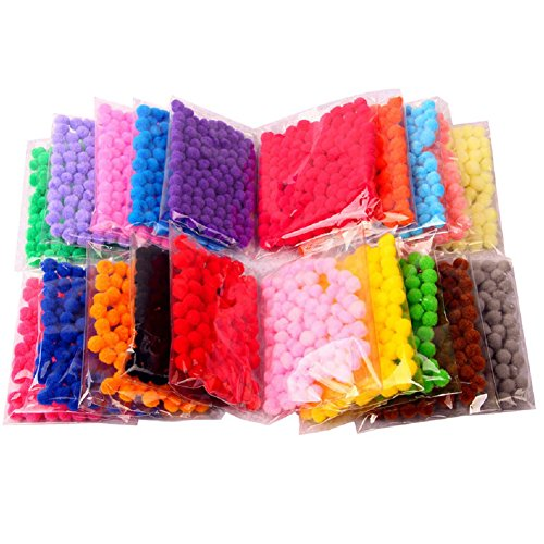 Brown Multi Colored - TOAOB 1900 Pieces 1cm Assorted Pom Poms for DIY Creative Crafts Decorations