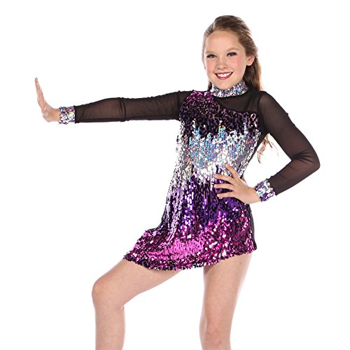 Dance Costumes For Girls 2016 (Gia-Mia Dance Big Girls' Sequin Luminous Dress Dance Jazz Stretch Mesh Costume Performance Team, Purple, M)