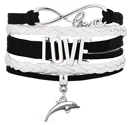 Legemeton Infinity Love Multilayer Braided Pink/Black Bracelet With Jumping Dolphin (Black) ()