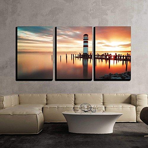 Landscape Ocean Sunset Lighthouse x3 Panels