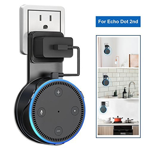 GuckZahl Outlet Wall Mount Hanger Stand Holder for Echo Dot 2nd Generation Speaker - Space-Saving Dot Accessories with Short USB Charging Cable for Your Smart Home Speaker Black