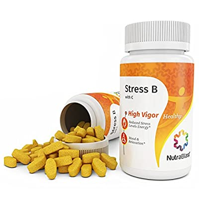 NutraBlast Vitamin B & C Complete Stress Support w/ Biotin, Folic Acid, Calcium, Magnesium, Chamomile and Herbal Complex - Supports Mood, Relaxation, and Heart Health - Made in USA (90 Coated Tablets)
