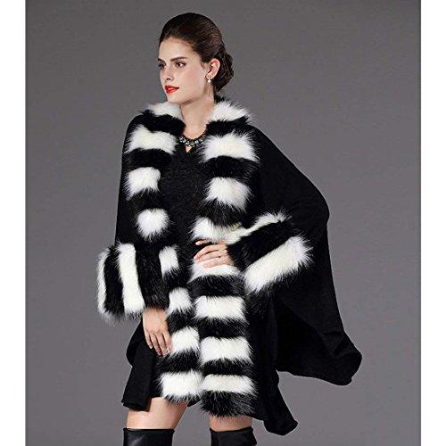 Vintage Fashion Hiver Manteau Cape Faux Fourrure Cuir en El Poncho Femme qwIAgg