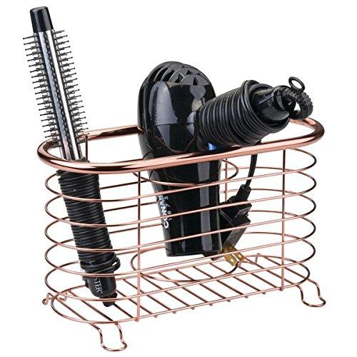 mDesign Bathroom Countertop Storage Organizer Basket Hair Dryer, Flat Irons, Curling Wands - Rose Gold MetroDecor 9181MDBST