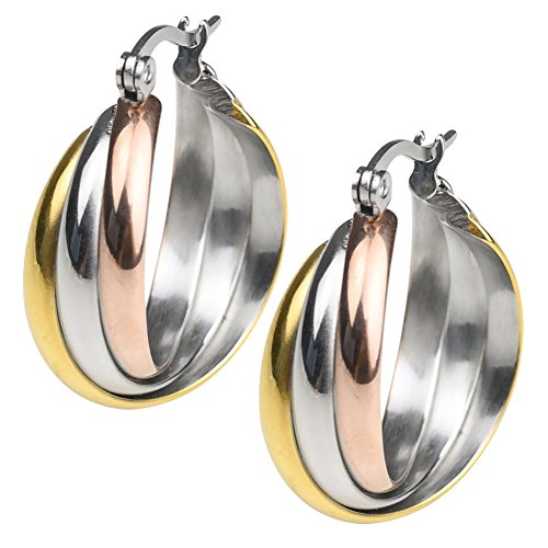 (18k Yellow Gold Plated Stainless Steel Polished Shiny Tri Color Round Twist Hoop Earrings for Women (Tri color))