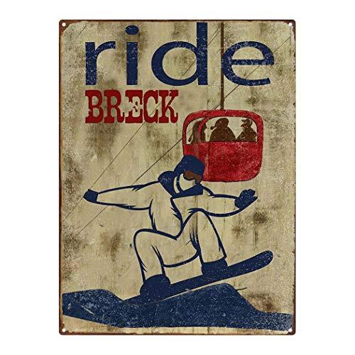 KPSheng Outdoor Ride Breck 12x16 Metal Sign, Ski, Breckenridge, Colorado, Travel, Vintage