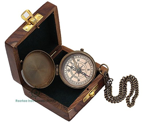 Instrument Antique (Roorkee Instruments India Boy Scouts Engravable Brass Pocket Compass with Wood Case)