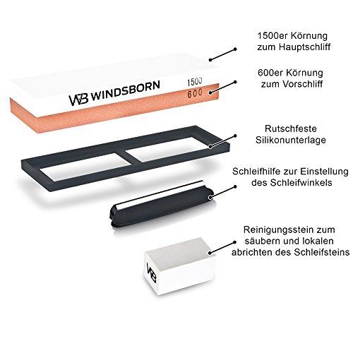 WINDSBORN WINDSBORN WINDSBORN Schleifstein Set (600/1500 Körnung) + Gratis E-Book – Hochwertiger 8fba00