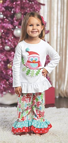 Mud Pie Christmas Owl Pant Set (12-18 Months)