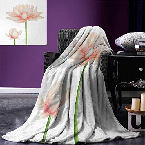 smallbeefly Yoga Digital Printing Blanket Pastel Colored Blooming Lotus Flower Romantic Fresh Garden Plant Spa Theme Summer Quilt Comforter 80''x60'' Peach Green White by smallbeefly