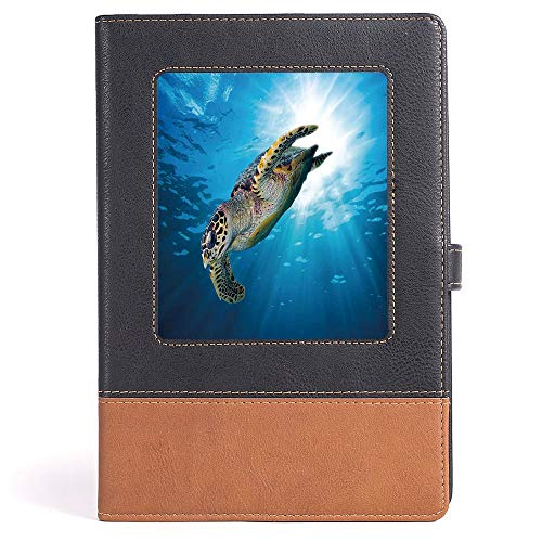 Turtle - Composition Book/Notebook - Hawksbill Sea Turtle Dive Deep Into the Blue Ocean Against Sun Rays - 100 sheets/200 pages - A5/6.04x8.58 in